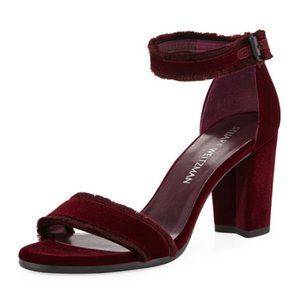 Stuart Weitzman Frayed Ankle Strap Sandal Heels